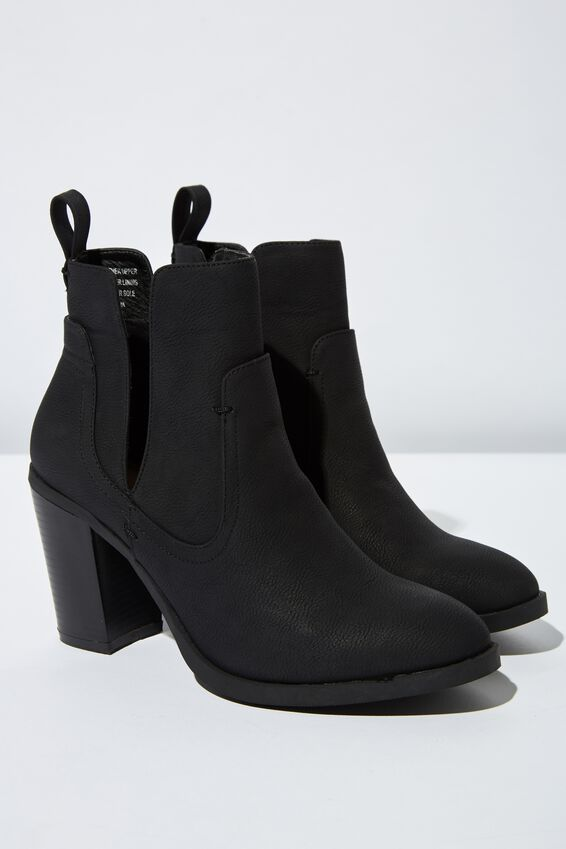 Nala Cut Out Boot, BLACK NUBUCK PU