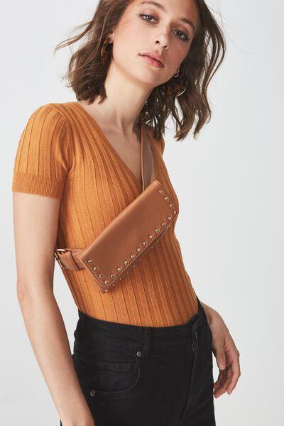 Simple Belt Bag, TAN STUDDED
