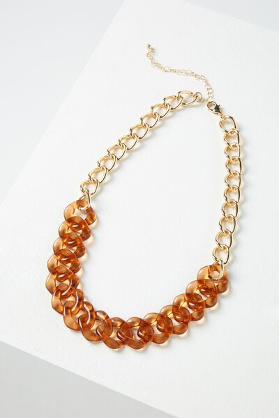Tanzania Necklace, RUST/GOLD