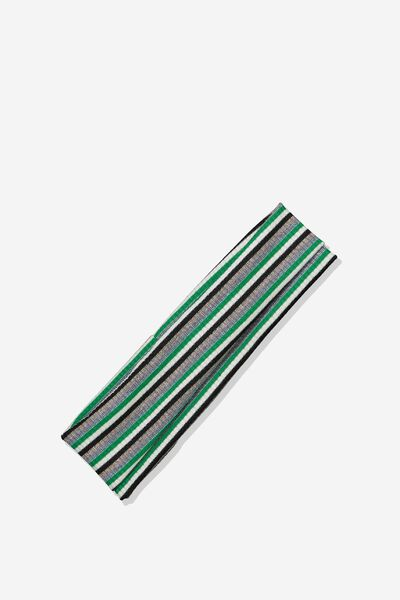 Farah Flat Rib Headband, GREEN SPARKLE STRIPE RIB