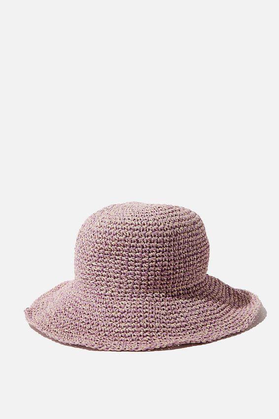 Kimberley Crochet Bucket Hat, LILAC TWIST