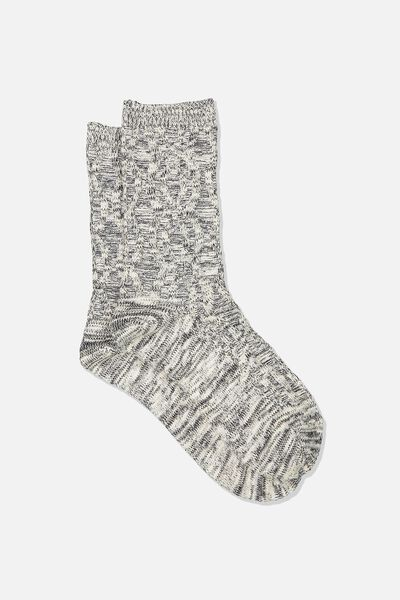 Hiking Sock, BLACK/WHITE CABLE MIX