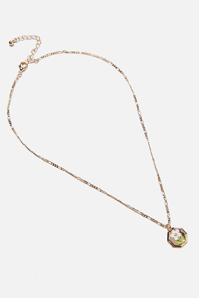 Keepsake Pendant Necklace, DAISY ENAMEL GOLD