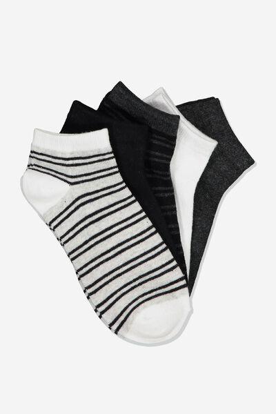 5Pk Ankle Sock, GREYS STRIPE