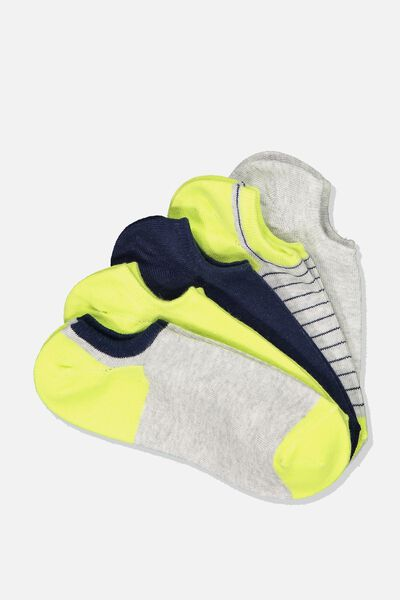 5Pk Sports Low Cut Sock, LIMEADE/GREY MARLE STRIPE