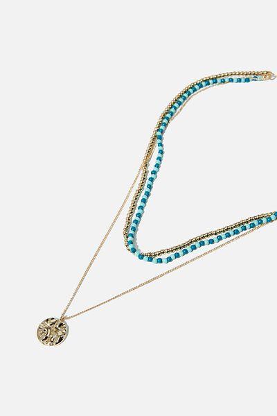Free Spirit Bondi Necklace, TURQUIOSE/GOLD
