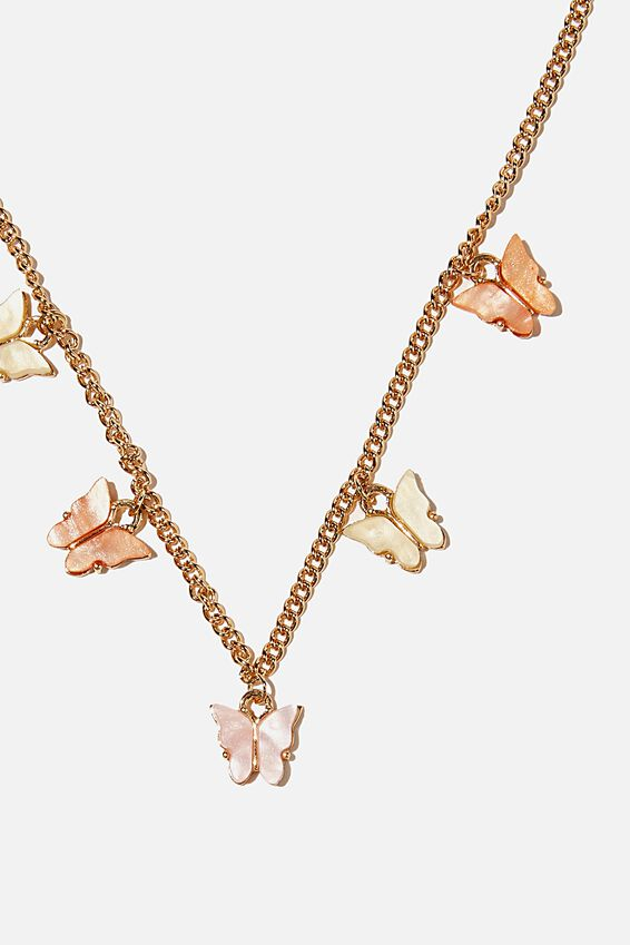 Brighter Days Charm Necklace, BUTTERFLY PASTEL GOLD