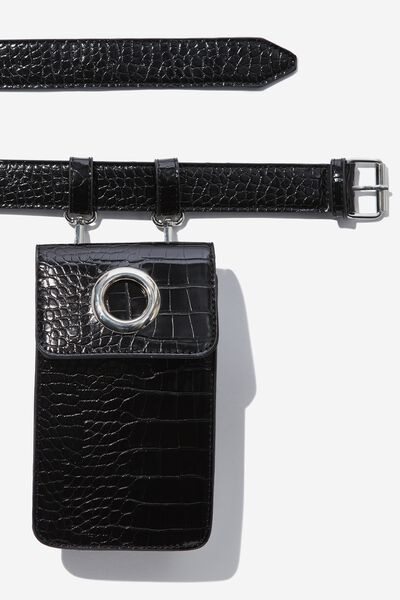 Luxe Croc Belt Bag, BLACK