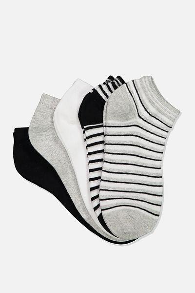 5Pk Ankle Sock, BLACK/ GREY MARLE STRIPE