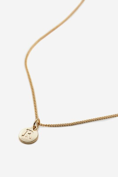 Letter Charm Necklace, GOLD R