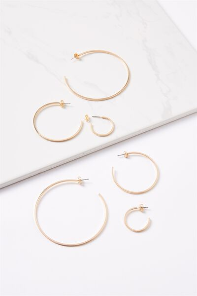 Renee Grad Hoop Pack, GOLD