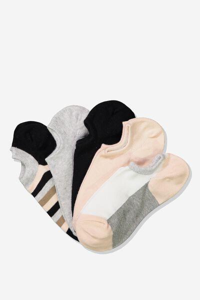 5Pk Sports Low Cut Sock, BLUSH CASEY STRIPE