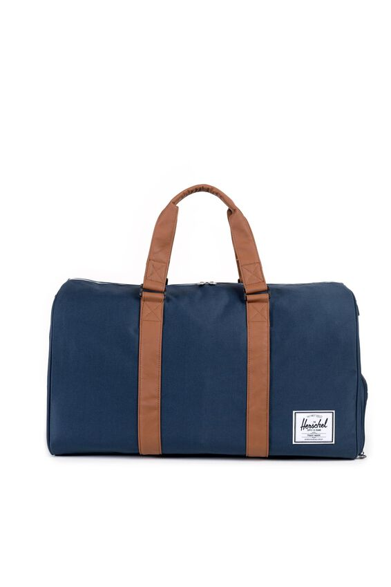 Herschel Novel Duffle Bag, NAVY/TAN SYNTHETIC LEATHER