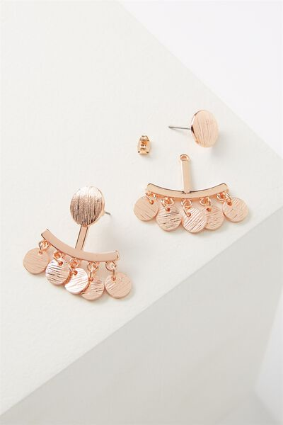 Brushed Metal Coin Ear Jacket, ROSE GOLD