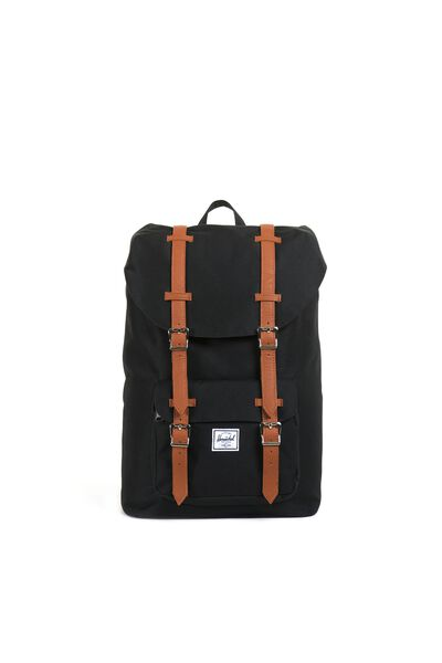 Herschel Little America Mid-Volume Backpack, BLACK/TAN SYNTHETIC LEATHER