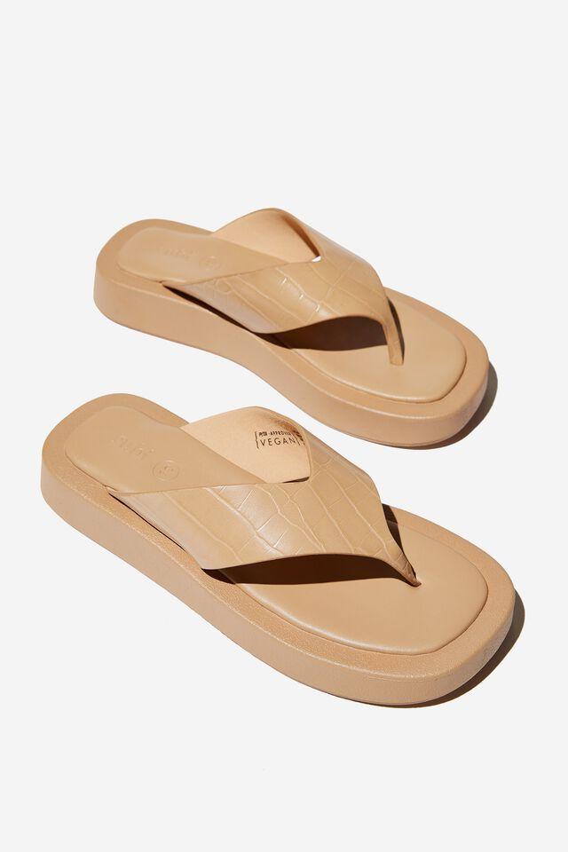 Sadie Flip Flop Flatform, CAMEL CROC PU