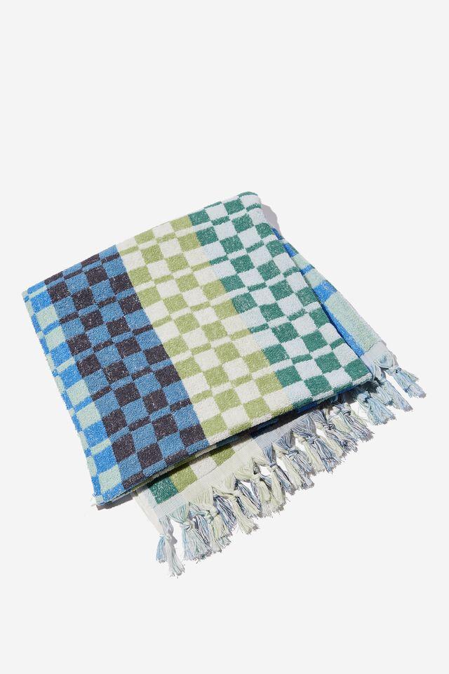 Bondi Rectangle Towel, NAVY DIANA CHECKERBOARD