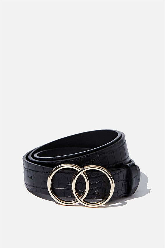 Double Circle Belt, BLACK FAUX CROC W GOLD