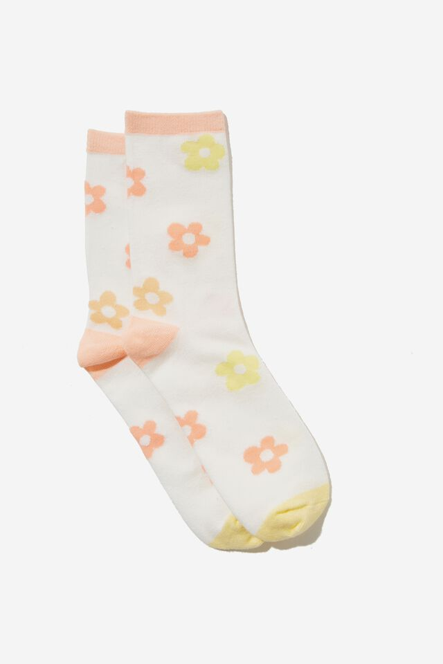 Carrie Crew Sock, WHITE/DOLLY SCATTERED DAISY