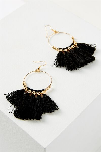 Cleo Tassel Earring, BLACK
