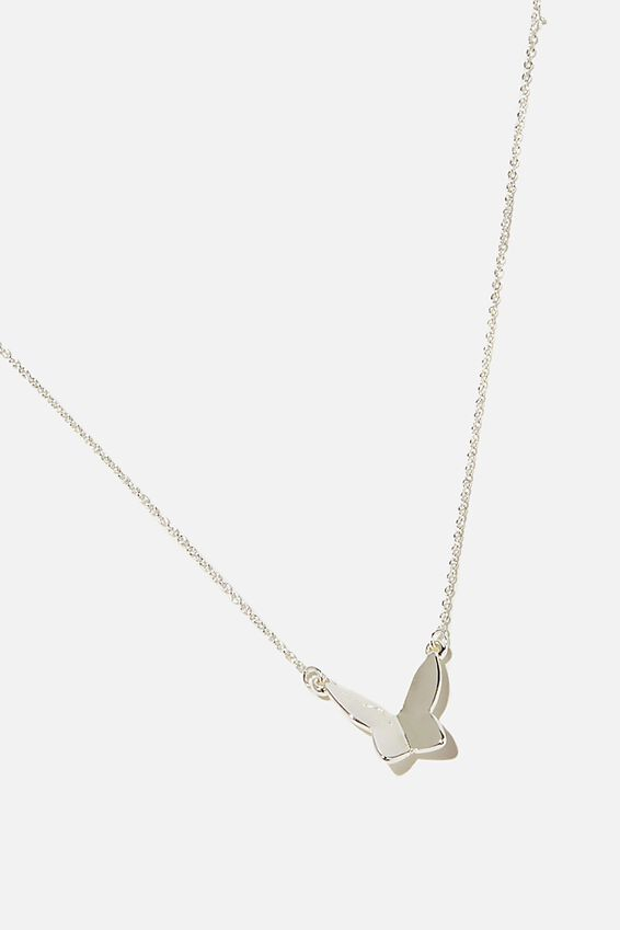 Premium Pendant Necklace, STERLING SILVER PLATED BUTTERFLY