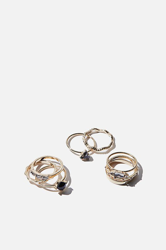 Luxe Layers Black Stone Ring Set, GOLD