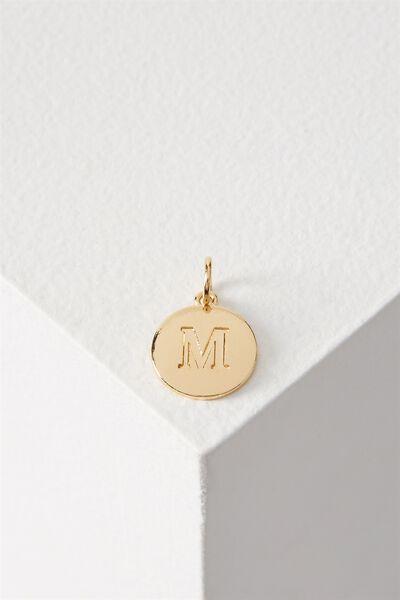 Letter Flat Pendant Charm, GOLD - M