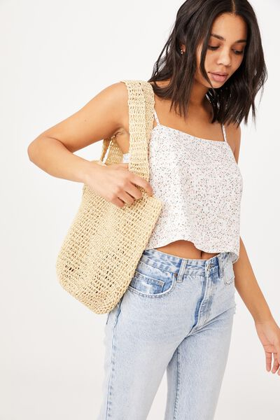 Pia Woven Slouch Tote, WHITE SAND