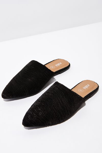 Tahlia Twist Mule, BLACK PLEATED