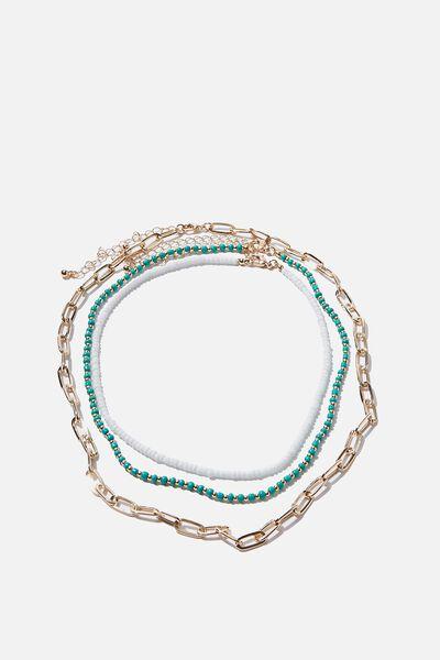 San Antonio Necklace, GREEN/WHITE