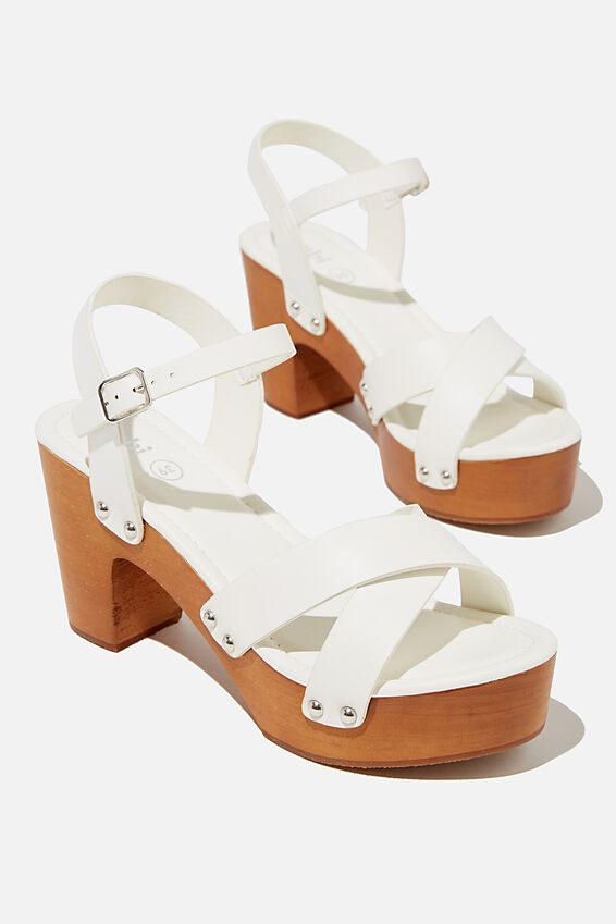 Mandy Block Heel, WHITE SMOOTH PU