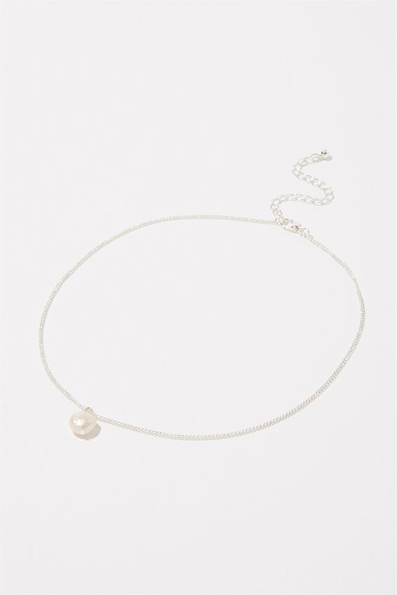 Treasures Single Chain Necklace, SILVER PEARL PENDANT