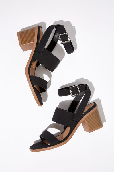Hayley Stack Heel, BLACK NUBUCK