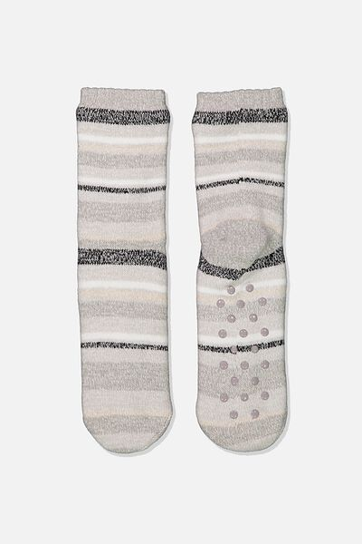Coc Loungin Round Sock, GREY STRIPE