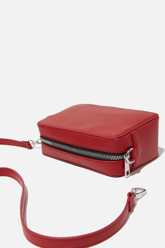 Personalized Stevie Boxy Cross Body Bag, DEEP RED
