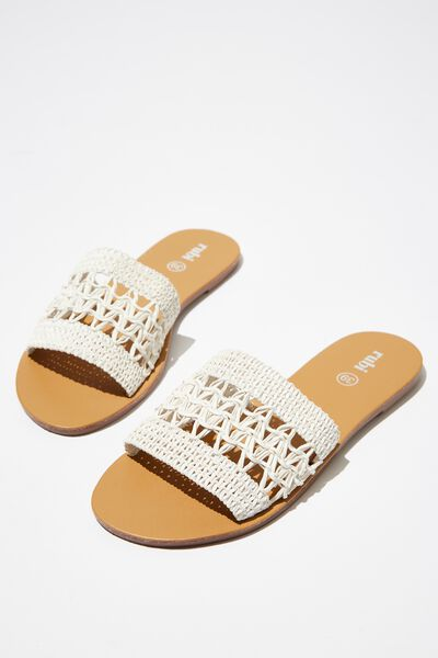Carrie Minimal Slide, WHITE WOVEN PU