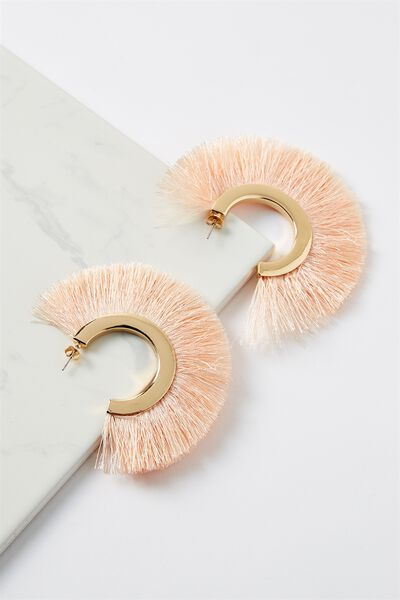 Fringe Statement Earring, PINK