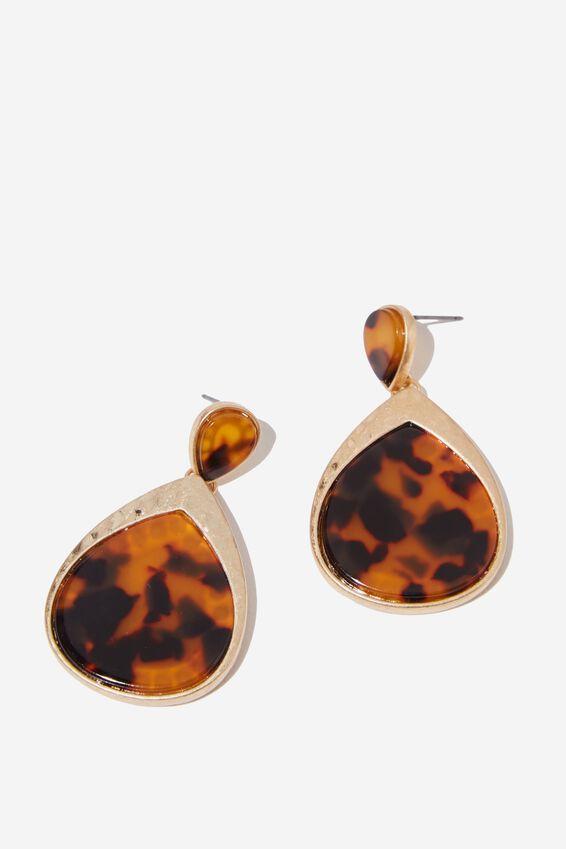 Selma Classic Earring, TORT/GOLD