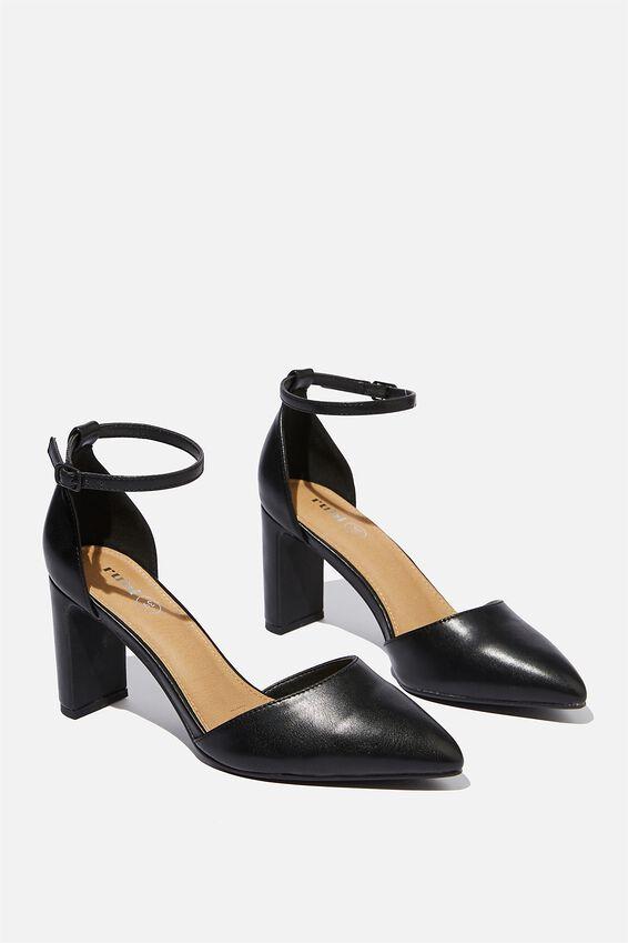 Jeanne Closed Toe Heel, BLACK SMOOTH PU