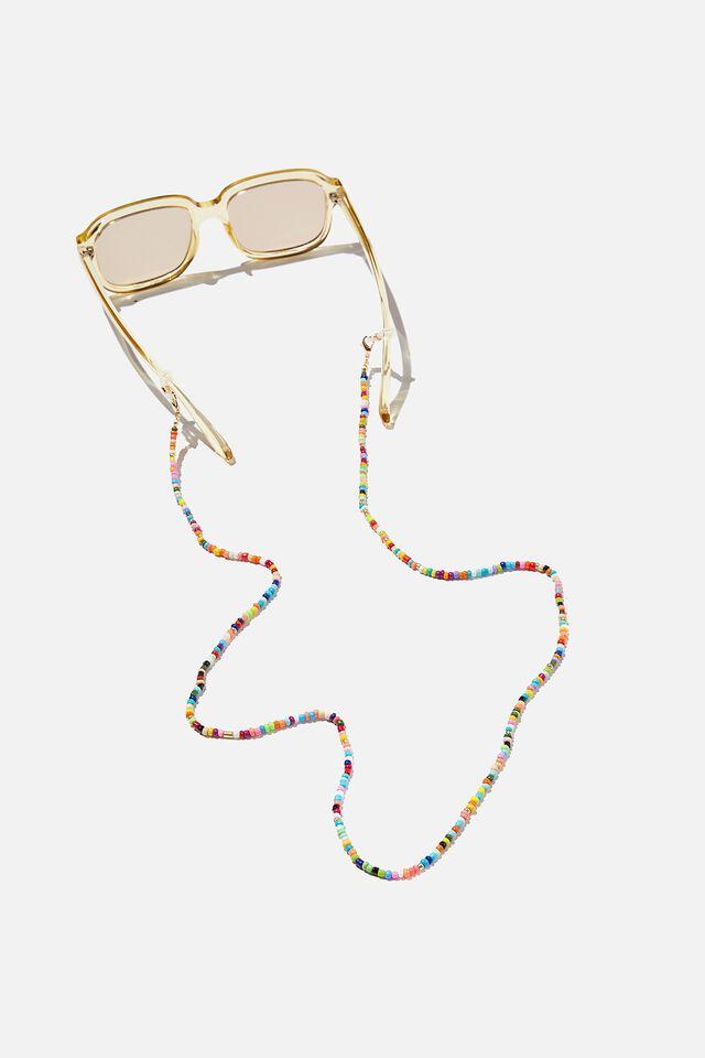 Sofia Glasses Chain, MULTI & GOLD BEAD