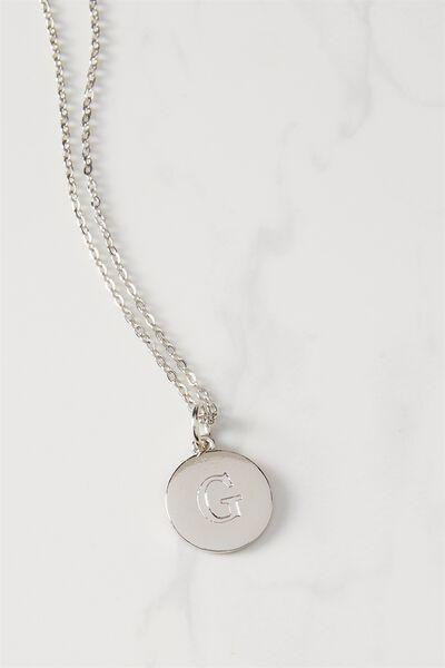 Letter Flat Pendant Necklace, SILVER - G