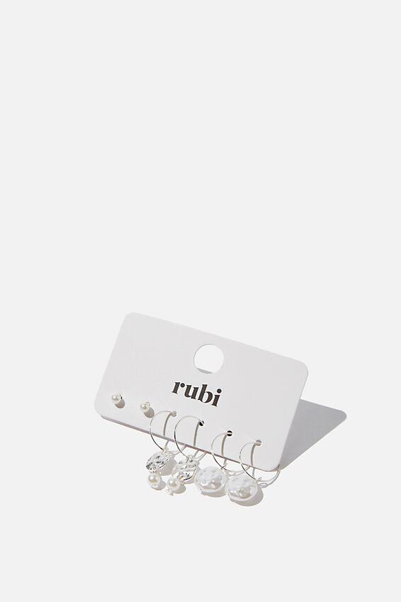 Pearl Disc Mixed 3Pk Earrings, SILVER