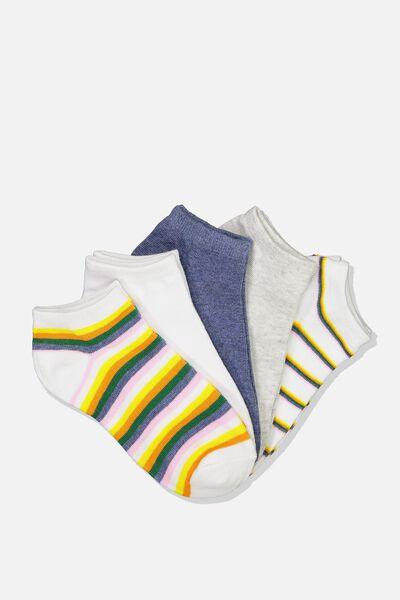 5Pk Ankle Sock, RAINBOW STRIPE