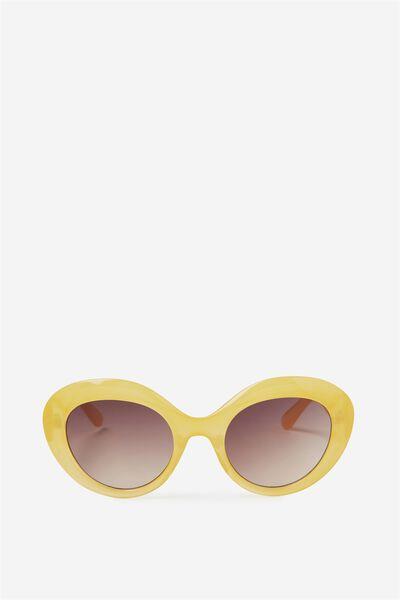 Paris Oval Cat Eye Sunglasses, MILKY MUSTARD