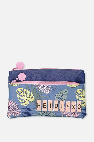 Personalised Dual Zip Cosmetic Case, TROPICAL FLORAL