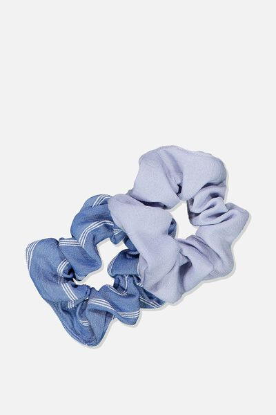 2Pk Scrunchie, CHAMBRAY/STRIPE