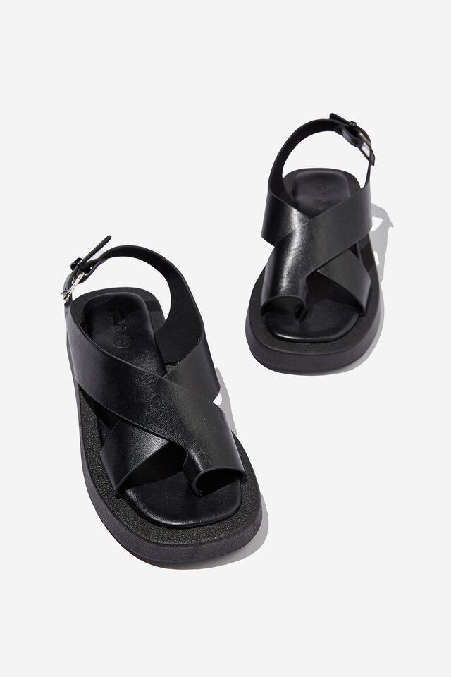 Sadie Slingback Flatform, BLACK SMOOTH PU
