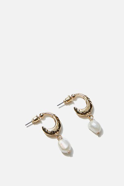 Luxe Layers Small Dainty Pearl Drop Hoop, GOLD