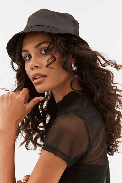 Bella Bucket Hat, BLACK NYLON