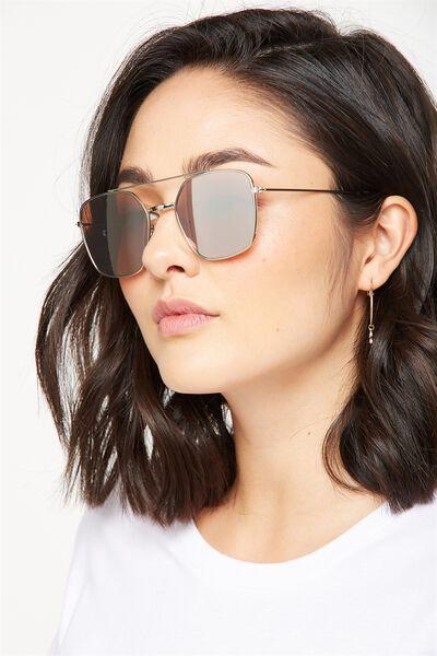 Lucinda Metal Pilot Sunglasses, S.SILVER
